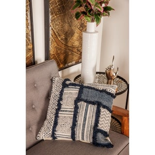 Rustic 19 x 19 Inch Square White Cushion Cover with Compressed Filler