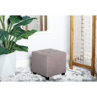 Contemporary 14 x 14 Inch Square Gray Pouf