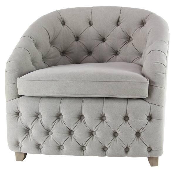 30 X 32 Inch White Tufted Arm Chair