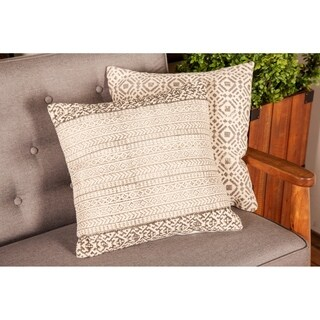 Traditional 17 x 17 Inch Gray Pillow with Aztec Design by Studio 350
