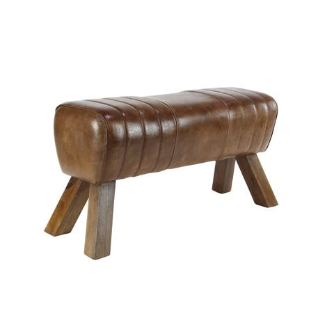 Studio 350 Rustic Brown Leather 18-inch x 37-inch Stool with Wooden Legs