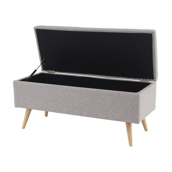 Enjoyable Shop Contemporary 18 X 40 Inch Gray Storage Bench Free Ncnpc Chair Design For Home Ncnpcorg