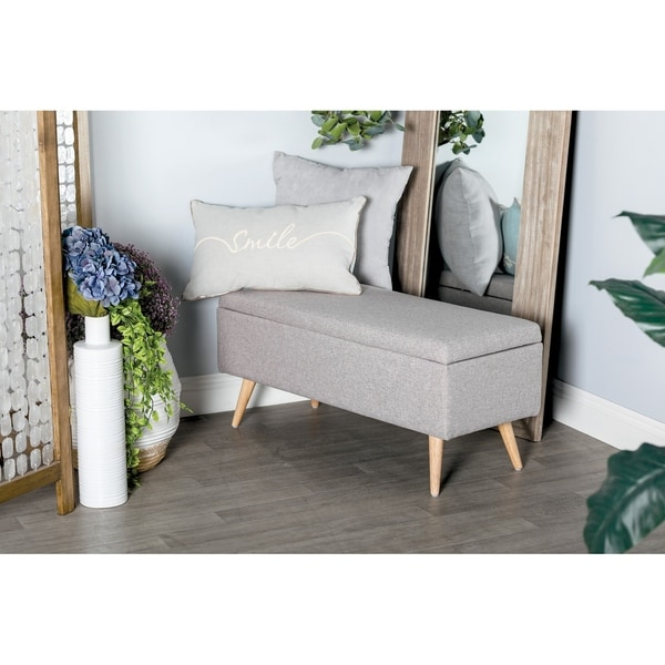 Shop Contemporary 18 X 40 Inch Gray Cushioned Storage Bench By