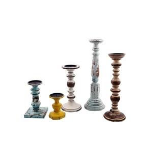 Benzara Distressed Finish Wooden Pillar Shaped Candleholder, Set of 5, Multicolor