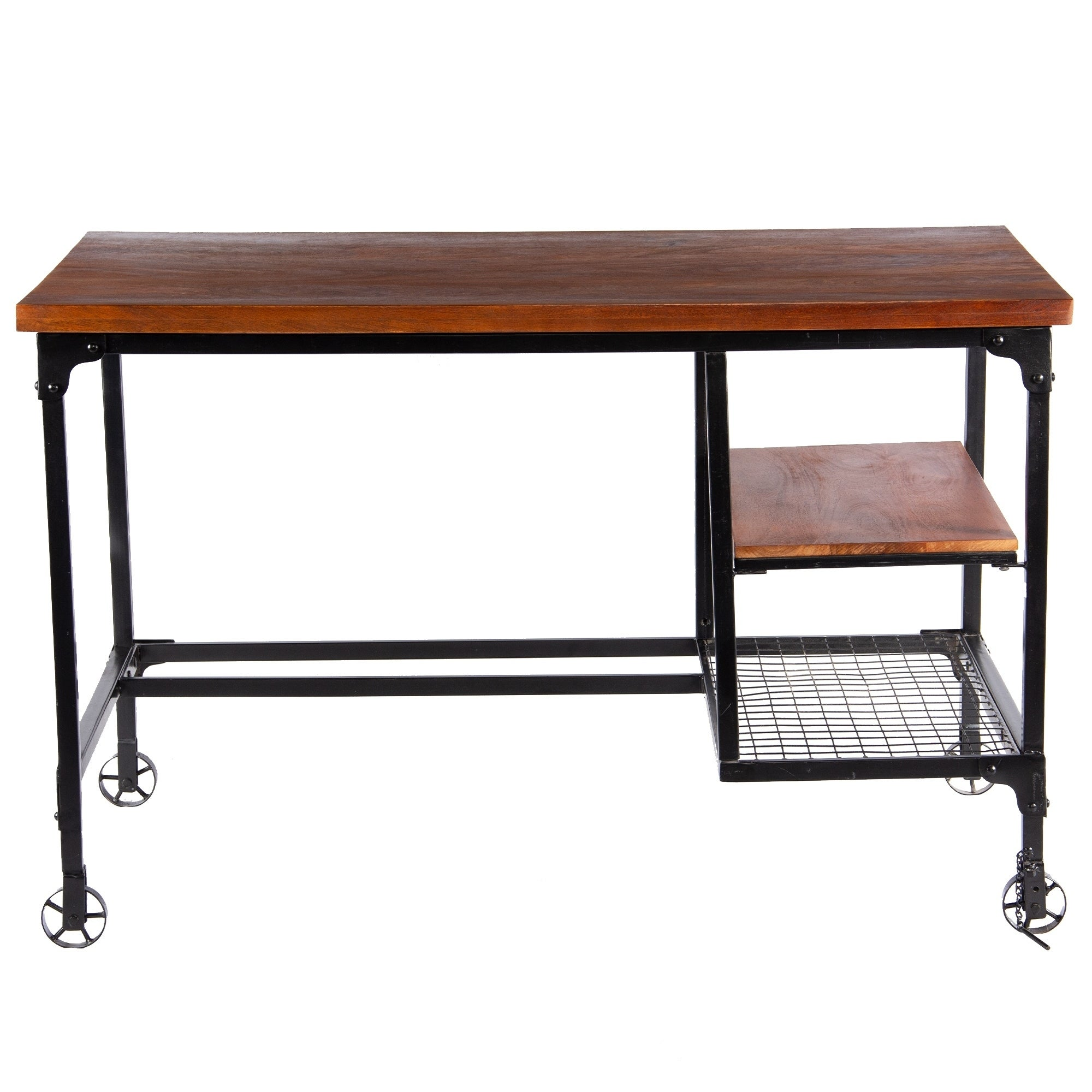 Industrial Style Wooden Desk With Two Bottom Shelves Brown And Black On Sale Overstock 20445931
