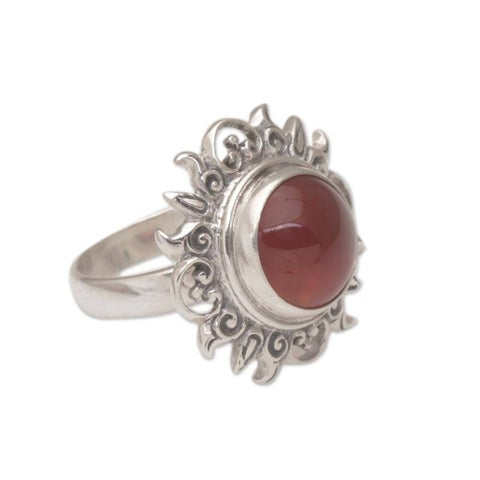 Handmade Sterling Silver 'Light of the Universe' Carnelian Ring (Indonesia)