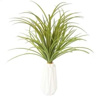 Plastic Grass in Ceramic Vase
