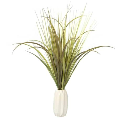 Plastic Grass with Onion Grass in Ceramic Vase - OS