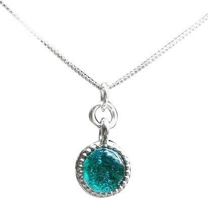 Handmade Recycled Repurposed Vintage Aquamarine Mason Jar Glass Color Dot Necklace (United States)