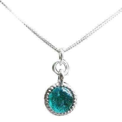 Handmade Recycled & Repurposed Vintage Aquamarine Mason Jar Glass Color Dot Necklace