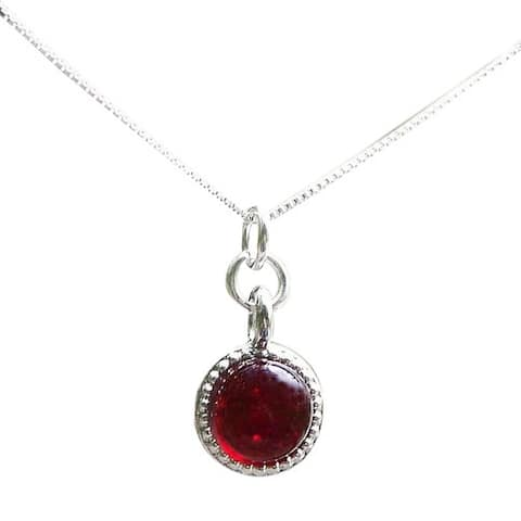 Handmade Recycled Repurposed World War II Era Ruby Beer Bottle Glass Color Dot Necklace (United States) - Red