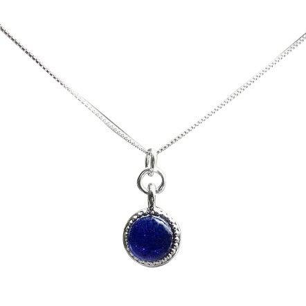 Handmade Recycled Repurposed Vintage 1960s Cobalt Skin Crean Jar Glass Color Dot Necklace (United States)