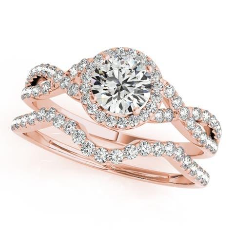 Jewelmore 1/2 Carat Halo Daimond Engagement Bridal Ring Set 14K Solid Rose Gold (H-I/I2-I3)