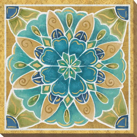 "Daphne Brissonnet ""Free Bird Mexican Tiles IV"" Giclee Stretched Canvas Wall Art"