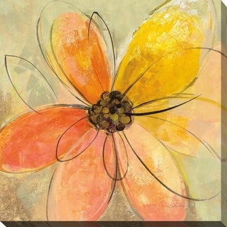 """Silvia Vassileva """"Neon Floral II"""" Giclee Stretched Canvas Wall Art"""