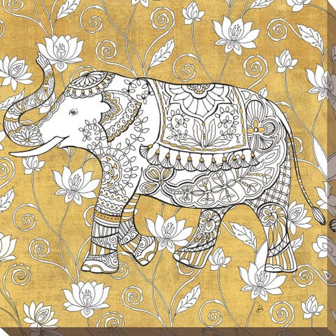 "Daphne Brissonnet ""Color my World Elephant II Gold"" Giclee Stretched Canvas Wall Art"