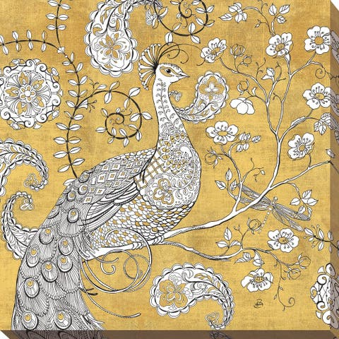 "Daphne Brissonnet ""Color my World Ornate Peacock I Gold"" Giclee Stretched Canvas Wall Art"