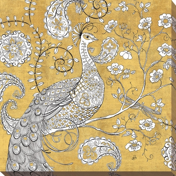 """Daphne Brissonnet """"Color my World Ornate Peacock I Gold"""" Giclee Stretched Canvas Wall Art. Opens flyout."""