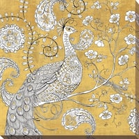 """Daphne Brissonnet """"Color my World Ornate Peacock I Gold"""" Giclee Stretched Canvas Wall Art"""
