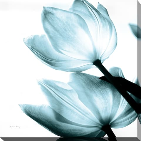 "Debra Van Swearingen ""Translucent Tulips II Sq Aqua Crop"" Giclee Stretched Canvas Wall Art"