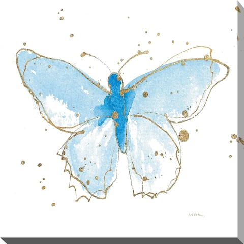 "Shirley Novak ""Gilded Butterflies IV"" Giclee Stretched Canvas Wall Art"