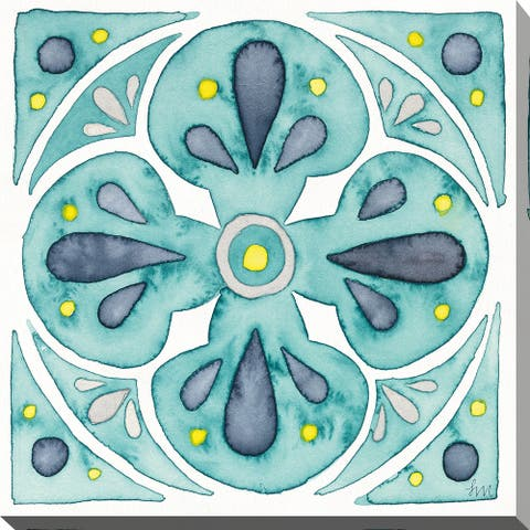 "Laura Marshall ""Garden Getaway Tile VI Teal"" Giclee Stretched Canvas Wall Art"