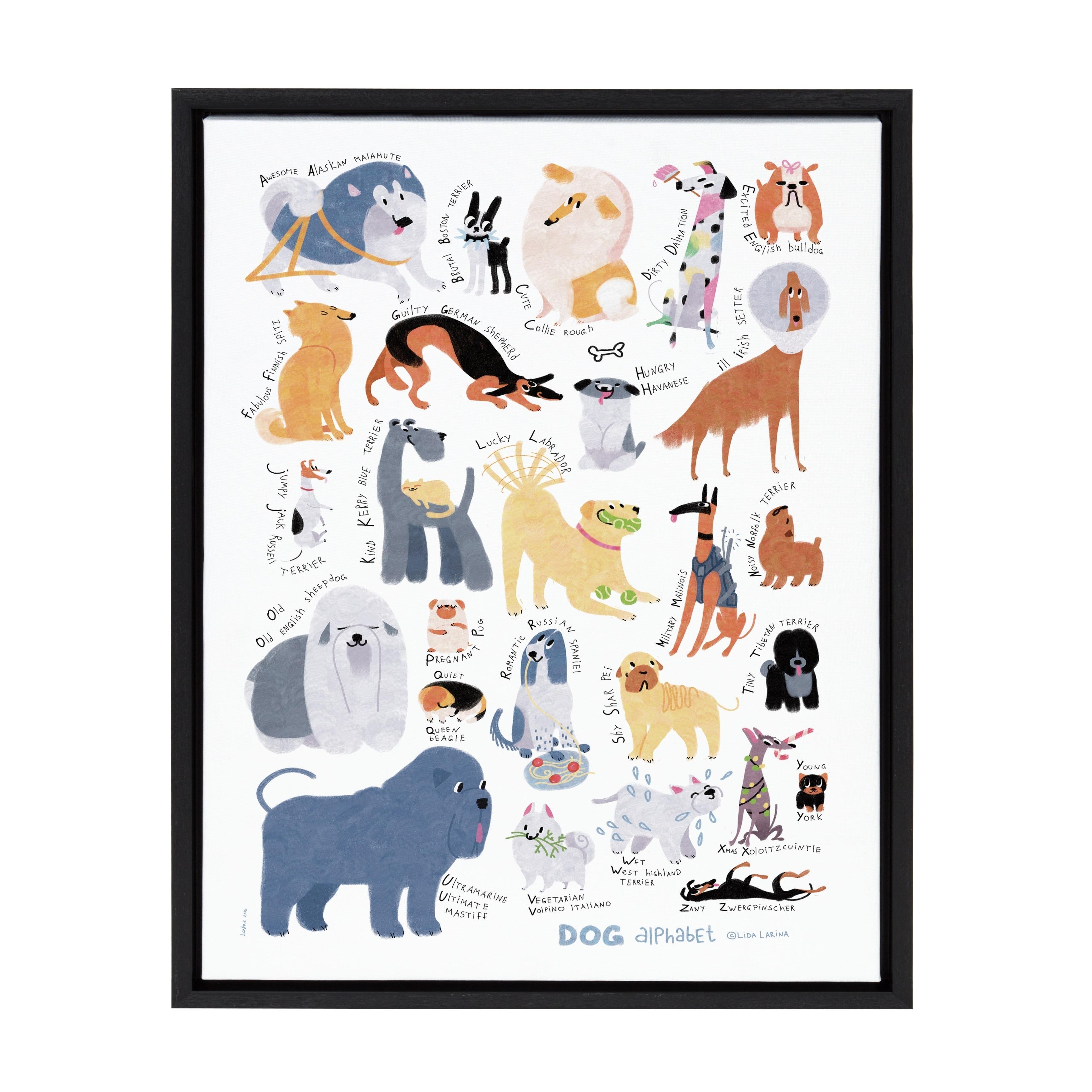 3128aa4ed7e Details about Sylvie Dog Alphabet Framed Canvas Wall Decor