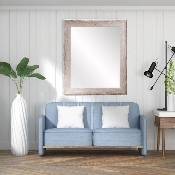 Farmhouse White Wall Mirror - White Washed