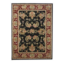 Safavieh Handmade Tabriz Black/ Burgundy Wool and Silk Rug (8' x 11')