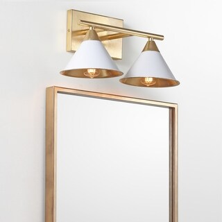 "Yvette 2-Light 16"" Metal Vanity Wall Light, White/Gold"