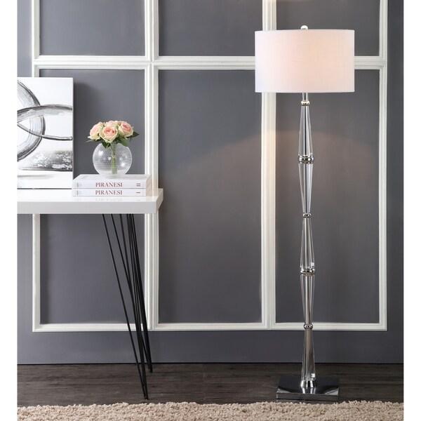"""Francine 60"""" Crystal LED Floor Lamp, Chrome/Clear"""