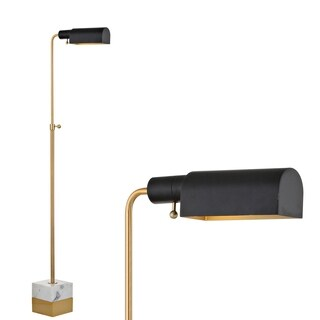 "Iva 56.5"" Adjustable Brass Library LED Floor Lamp, Brass Gold/Carrara Marble"