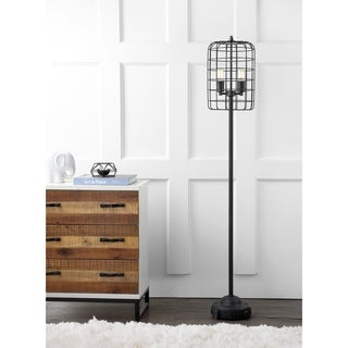 "Odette 65"" Industrial Metal Floor Lamp, Black/Silver"