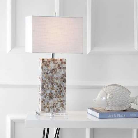 """Cannon 29"""" Seashell and Crystal LED Table Lamp, Natural/Clear by JONATHAN Y"""