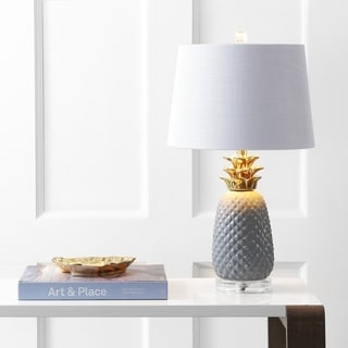 "Link to Pineapple 23"" Ceramic LED Table Lamp, Gray/Gold  by JONATHAN  Y Similar Items in Table Lamps"