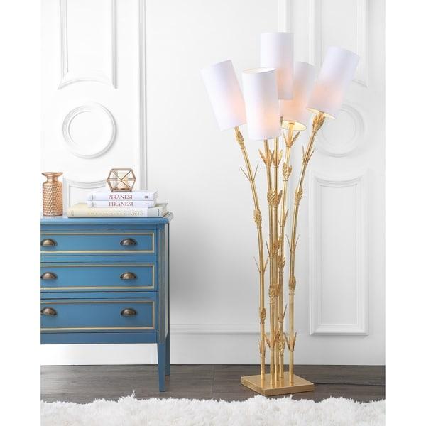 """Bamboo 5-Light Brass 65.5"""" LED Floor Lamp, Gold/White"""