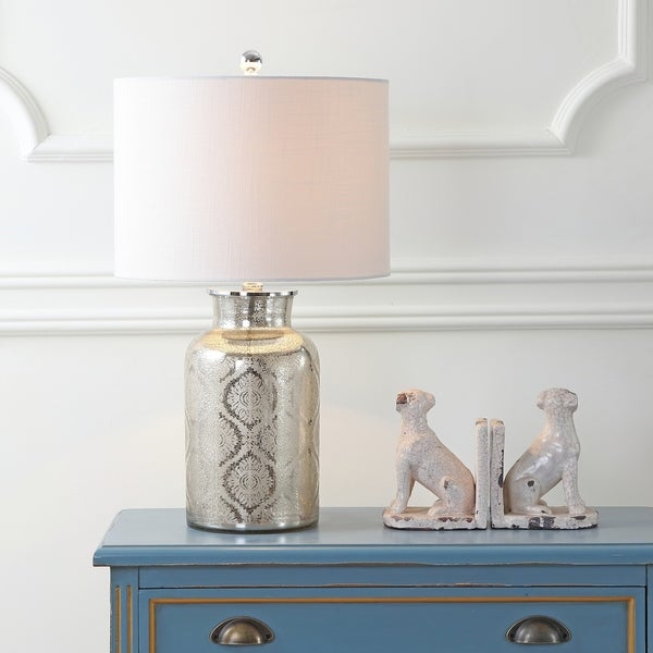 "Emilia 24.5"" Trellis Pattern Glass LED Table Lamp, Mercury Silver"