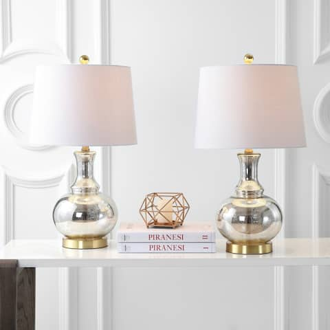 """Lavelle 25"""" Glass LED Table Lamp, Mercury Silver/Brass Gold (Set of 2) by JONATHAN Y"""