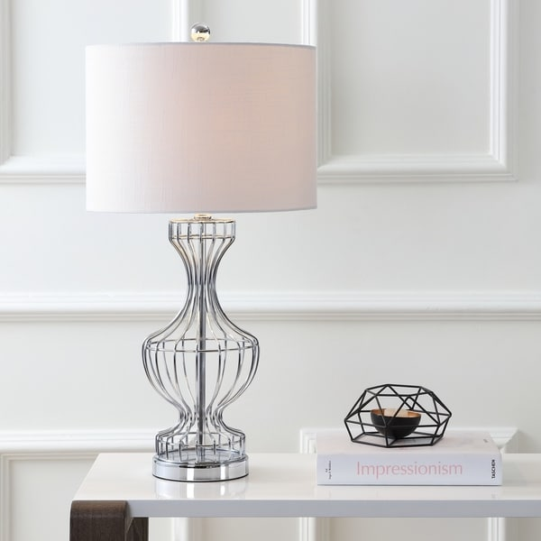 "Honore 28"" Metal Wire Frame LED Table Lamp, Chrome"