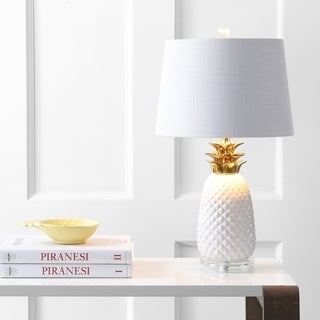 """Pineapple 23"""" Ceramic Table Lamp, White/Gold by JONATHAN Y"""