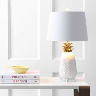 "Pineapple 23"" Ceramic LED Table Lamp, White/Gold by JONATHAN Y"