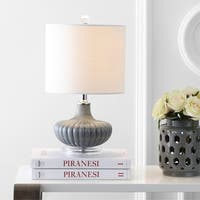 """Kamille 18"""" Glass and Lucite LED Table Lamp, Gray"""