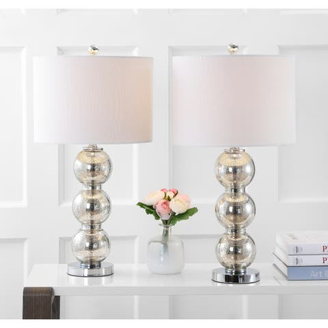 """Bella 27"""" Glass Triple-Sphere LED Table Lamp, Mercury Silver/Chrome (Set of 2) by JONATHAN Y"""