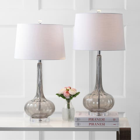 "Bette 28.5"" Glass Teardrop LED Table Lamp, Smoke Gray (Set of 2) by JONATHAN Y"