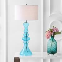 "Madeline 35"" Curved Glass LED Table Lamp, Aqua"