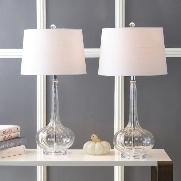 """Bette 28.5"""" Glass Teardrop Led Table Lamp, Clear (Set Of 2) By Jonathan Y by Jonathan Y"""