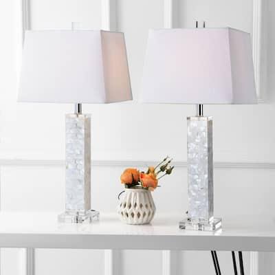 "Noelle 28.5"" Seashell LED Table Lamp, White (Set of 2) by JONATHAN Y"