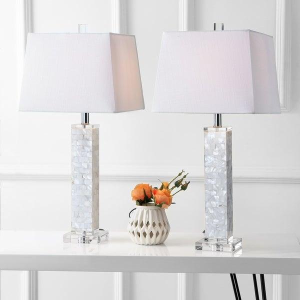 """Noelle 28.5"""" Seashell LED Table Lamp, White (Set of 2)"""
