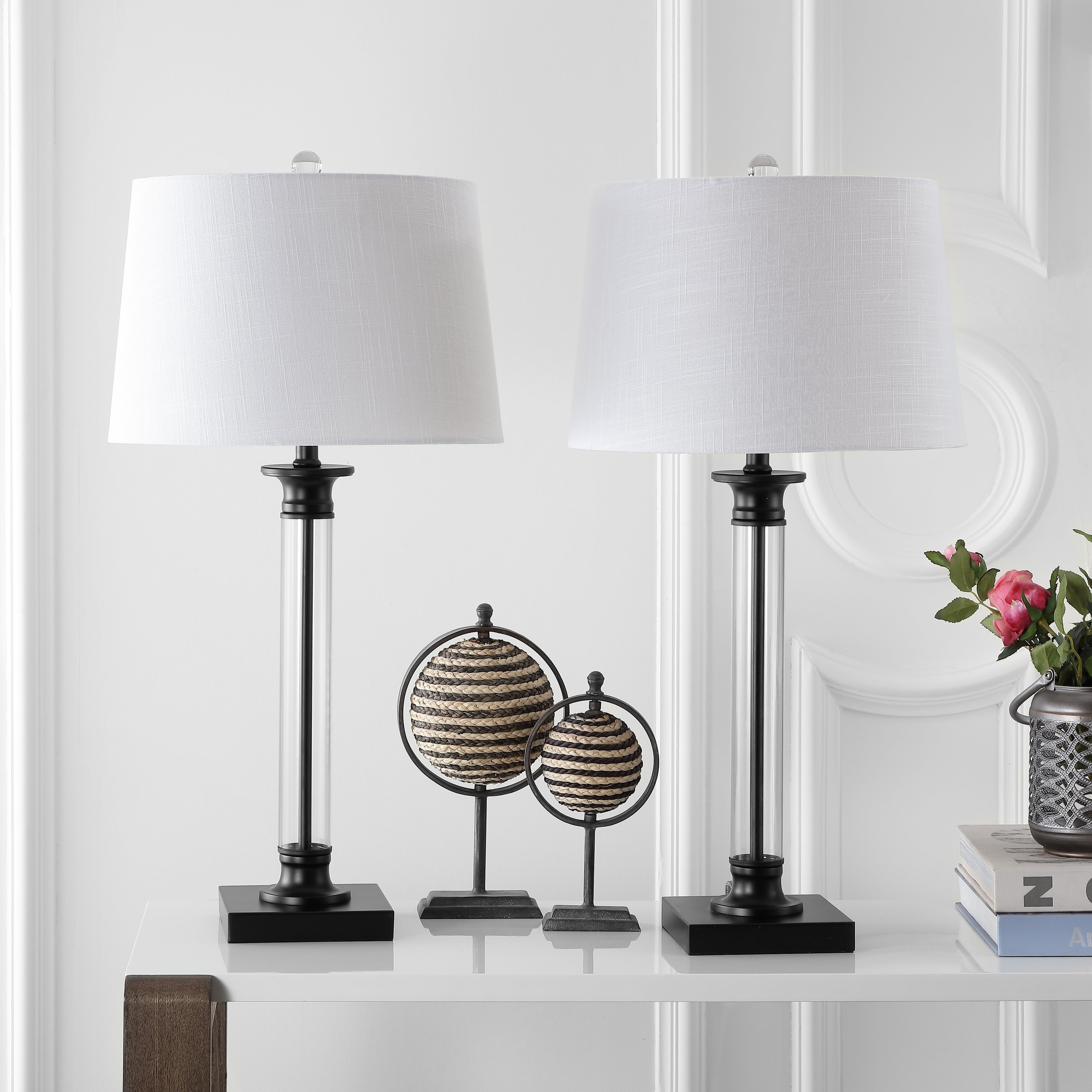 Picture of: Mason 30 Glass And Metal Led Table Lamp Black Clear Set Of 2 By Jonathan Y On Sale Overstock 20447521