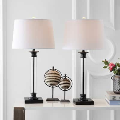 """Mason 30"""" Glass and Metal LED Table Lamp, Black/Clear (Set of 2) by JONATHAN Y"""